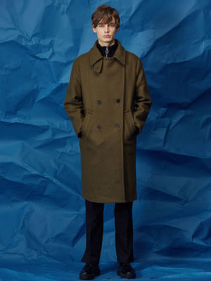 【AGENDER】HIGH COLLAR DOUBLE COAT KHAKI