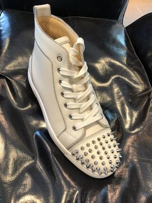 【ルブタン】18SS新作 Lou Z Spikes Men's Flat (White)