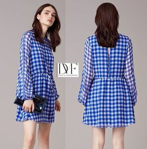 セール ダイアン DVF Gingham silk-chiffon mini dressドレス