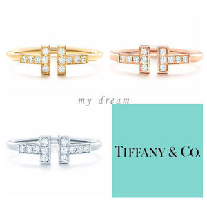 【Tiffany & Co】Tiffany T wire ring in gold with diamonds