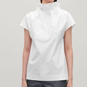 """COS""COLLAPSING NECK COCOON TOP WHITE"