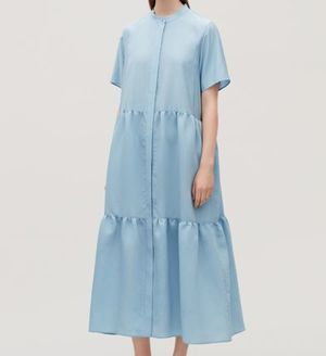 """COS""SHORT-SLEEVED GATHERED DRESS LIGHTBLUE"