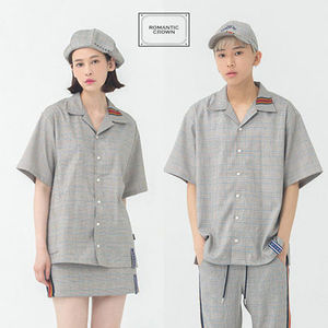★ROMANTIC CROWN★ Glen Check Half Shirt