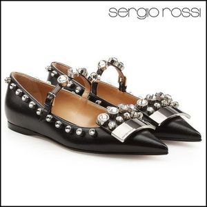 Sergio Rossi(セルジオロッシ)★Embellished Leather Ballerinas
