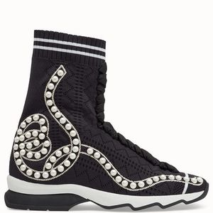 FE1884 PEARL EMBELLISHED SOCK SNEAKERS WITH LACE UP DETAIL