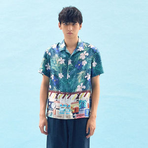 ☆FREIKNOCK☆ PRINT BLOCKED OPEN COLLAR SHIRT(MULTI)