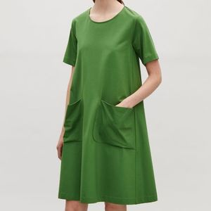 """COS""A-LINE JERSEY DRESS GREENDARK"