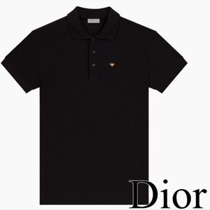 Dior Black  Polo Shirt Gold Thread BEE Embroidery 関税送料込