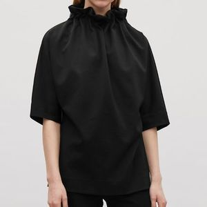 """""""COS"""" GATHERED-NECK TOP BLACK"""