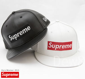 送込 即配可 15AW Supreme New Era  Box Logo Leather Hat