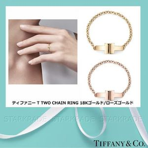 [Tiffany & Co.] ティファニー T Two Chain Ring Gold/Rose Gold
