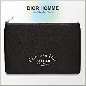 18-19AW★DIOR HOMME ロゴ柄 スモール レザー クラッチバッグ