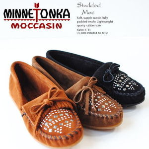 ★Minnetonka★Suede Studded Moc Black, Brown, Dusty Brown
