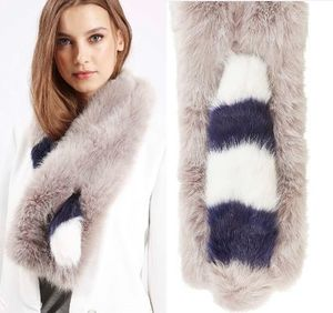 秋冬最新作★Faux Fur Striped Pull-Through Stole