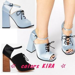 ASOS EDENVILLE Satin Lace Up On Block Heel♪2色