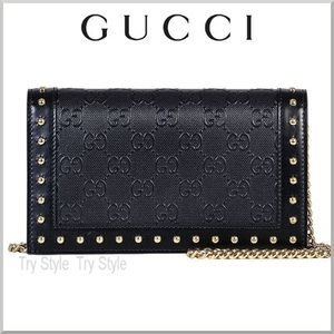 2015-16AW★GUCCI チェーン&スタッズ付き GGロゴ 財布