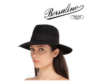 15AW BORSALINO Black WOOL FELT LARGE BRIM HAT