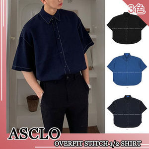 ASCLO★韓国の人気★OVERFIT STITCH 1/2 SHIRT 3色