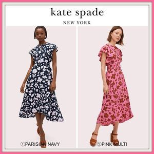 期間限定セール!☆kate spade☆ splash flutter sleeve dress