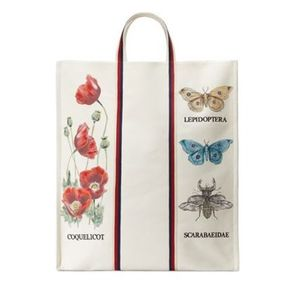 【GUCCI】Bestiary Botanical Canvas Tote ホワイト