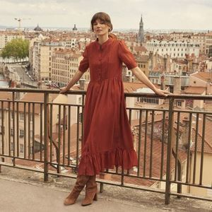 La Redoute Long dress buttoned, short sleeves