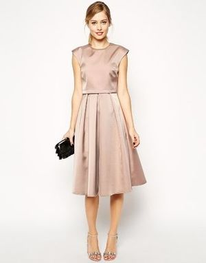 ☆関送込☆ASOS Midi Dress in Bonded Satin (Nude)