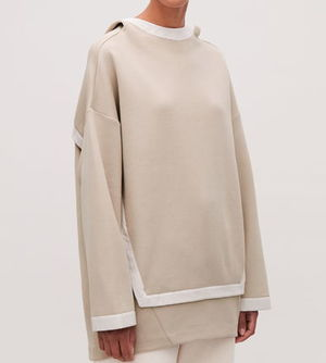 """COS"" COCOON-SHAPE HOODED SWEATER OATMEAL/WHITE"