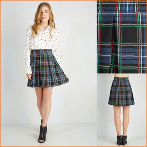 【ModCloth】Park Movie Marathon Skirt in Blue Plaid