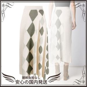 関税込◆graphic argyle panel skirt