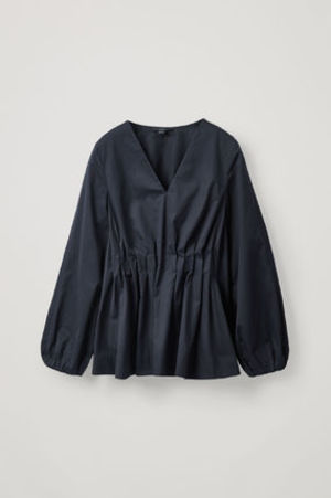 COS PLEATED PUFF SLEEVE TOP