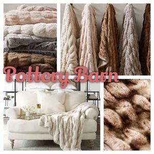 【Pottery Barn】FAUX FUR RUCHED THROW あったかブランケット