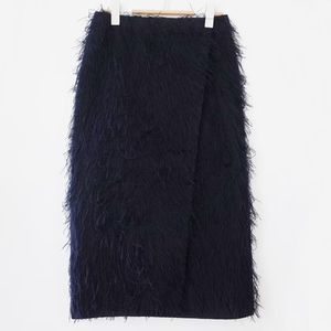 """COS"" FEATHERED WRAP SKIRT MIDNIGHTBLUE"