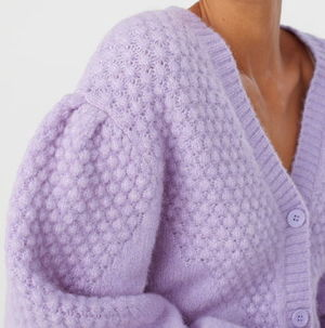 """& Other Stories"" Waffle Knit Wool Blend Cardigan Lilac"