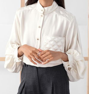 """& Other Stories"" Quilted Mock Neck Blouse White"