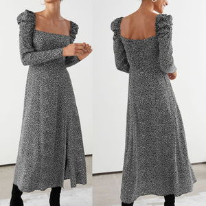 """& Other Stories"" Square Neck Puff Sleeve Midi Dress B/W"