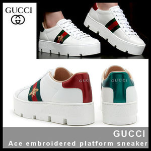 【GUCCI】Ace embroidered platform sneaker 577573 DOPE0 9064