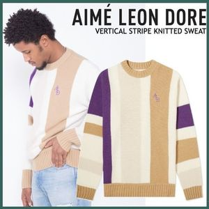 レトロ感◇Aime Leon Dore◇VERTICAL STRIPE KNITTED SWEAT