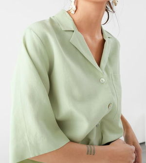 """& Other Stories"" Cupro Blend Relaxed Fit Shirt LightGreen"