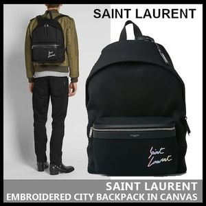 【SAINT LAURENT】EMBROIDERED CITY BACKPACK IN CANVAS 534968