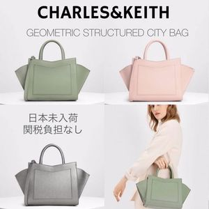 19AW/日本未入荷☆CHARLES&KEITH GEOMETRIC STRUCTURED CITY BAG