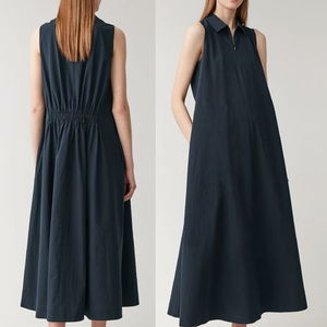 """COS"" VOLUMINOUS COTTON SHIRT DRESS BLUE"
