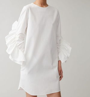 """COS"" DRESS WITH SLEEVE RUFFLES WHITE"