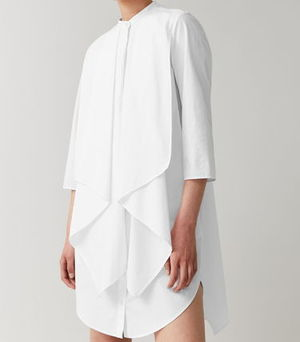 """COS"" COTTON SHIRT DRESS WITH DRAPED LAYERS WHITE"