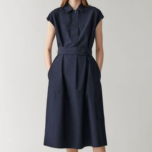"""COS"" BELTED COTTON SHIRT DRESS NAVY"
