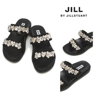 関税込*JILL BY JILLSTUART SHOES★Black crystal slippers