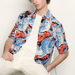 """sandro homme"" SHORT-SLEEVED PRINTED SHIRT BLUE/TIGER"