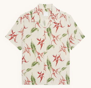 """sandro homme"" Short-sleeved printed shirt Ecru"
