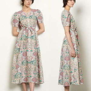 """sandro"" Long printed dress Ivory"