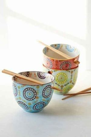 【UO】キュート☆Medallion Noodle Chopsticks + Bowl(全3色)
