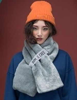 【日本未入荷】 「DIM E CRES」FAKE FUR MUFFLER_GREY★Sale★